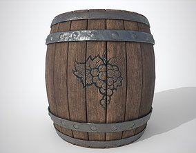 Wooden barrel 3D asset low-poly PBR