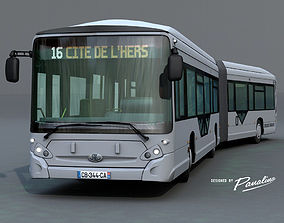3D model Heuillez GX427 articulated city bus
