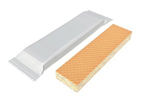 Blank package with waffle cake 01 3D