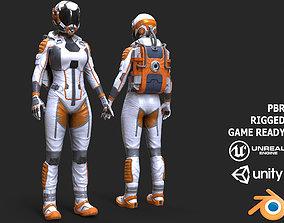 3D model Female Space Suit White LITE VERSION