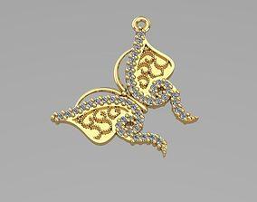 3D printable model sintered butterfly pendant
