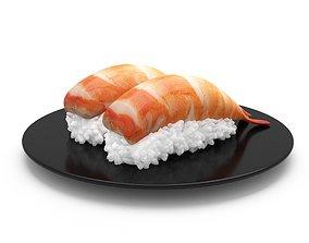 Prawn Sushi Japanese Japan Food rolls 3d model 3D model