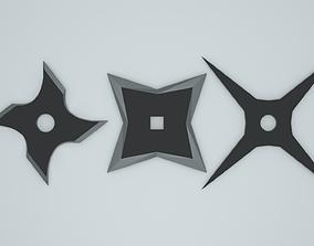 Low poly throwing star shurikens 3D asset
