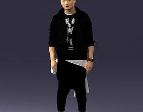 Stylish Asian man in black 0205 3D Print Ready