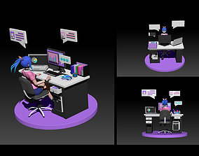 work from home 3D model