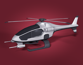 3D asset Cartoon Futuristic Attack Helicopter