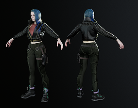Cyber Girl 3D model animated