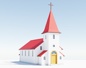 3D model low-poly Church architectural