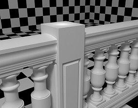 Exterior Railing - White Vinyl - Style 13 3D model