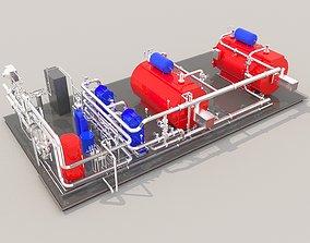 Industrial boiler room 3D hvac