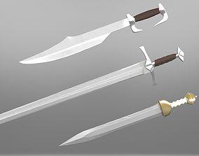 3D model Swords props - low-hi-poly