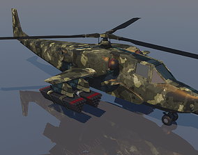 Low poly VR AR game ready Gunship Helicopter VR 3D model