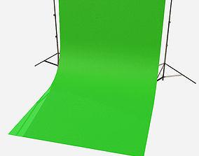 Low Poly PBR Green Screen Backdrop 3D model