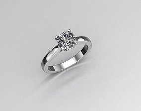Solitaire Engagement Ring 18Ct White Gold 3D print model