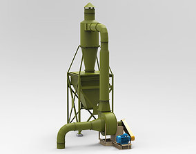 3D Industrial Cyclone Dust Collector