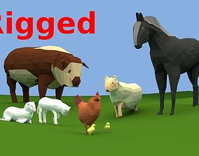 LOW POLY FARM ANIMALS 3D asset