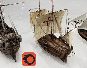 caravel 3D model Three Classic Ships