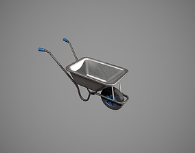Metal-Blue Wheelbarrow 3D asset