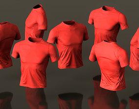 3D asset Mens Clothing Red Sports Tshirt