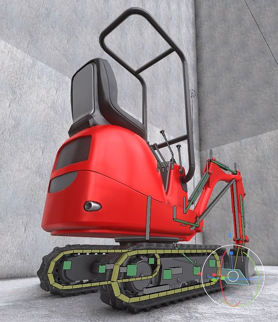 Mini-Excavator Low-Poly-Version