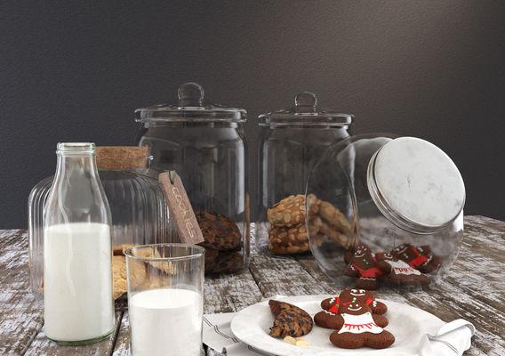 Cookie Jar and Milk Bottle