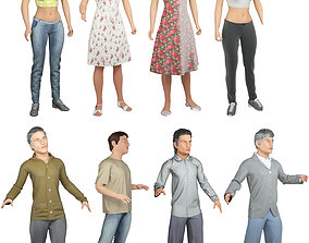 8x Man and woman cloth simulation conversation loop 3D
