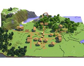 Minecraft Village 3D Model exterior
