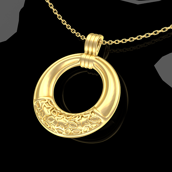 Stars Ring Pendant jewelry Gold 3D print model