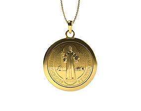 3D printable model gold Saint Benedictus Pendant