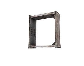 Wooden Bookshelf Window 02 3D asset