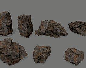 3D model realtime mount rock set