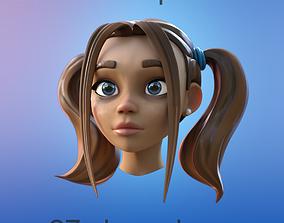 cartoon female head 3D
