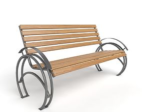 3D model seat Bench with arc metal legs