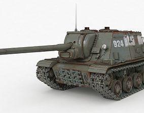 Tank ISU 122 Russian Vray 3D model