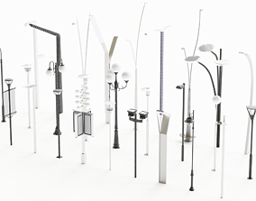 game-ready street light 3d model collection