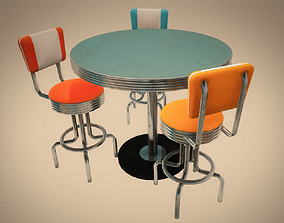 3D asset Retro Table and Chair