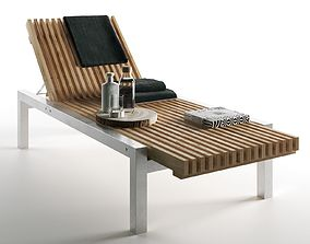 Wooden Lounger with Towels and Bottles 3D