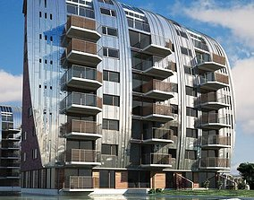 Modern Block House Apartments 3D model