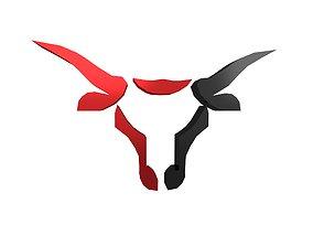 3D asset Bull Emblem v4 002