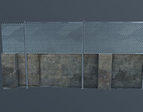 Street wall with metal fence 3D asset