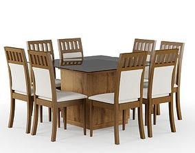 3D model Wood Set Table and Chairs
