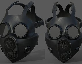 low-poly Gas mask helmet 3d model military combat 1