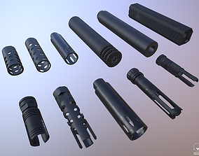 Barrel Attachments Pack - Flash - Muzzle - Suppressor 3D 1
