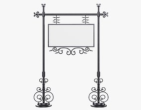 Forged column with hanging sign 07 3D model