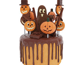 3D model Halloween cake with pumpkin figurines