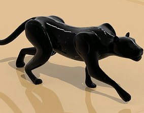 3D model Black panther sneaking Texture Black marble