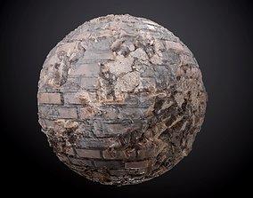 3D Brick Wall Sloppy Concrete Seamless PBR Texture