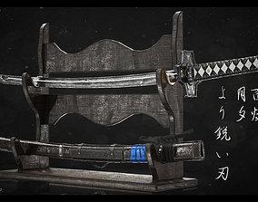 Katana-Saya-Table - Moonlight Sunset 3D Model game-ready