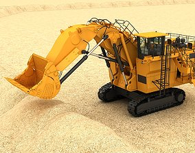 Mining Excavator 6060 3D model Rigging rigged