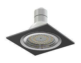Black Halogen Light 3D Model